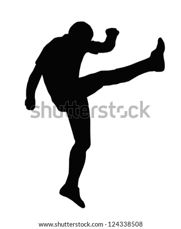 Sport Silhouette - Rugby Football Kicker Kicking an Up an Under - stock vector