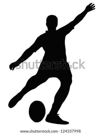 Sport Silhouette - Rugby Football Kicker place kicking the ball - stock vector