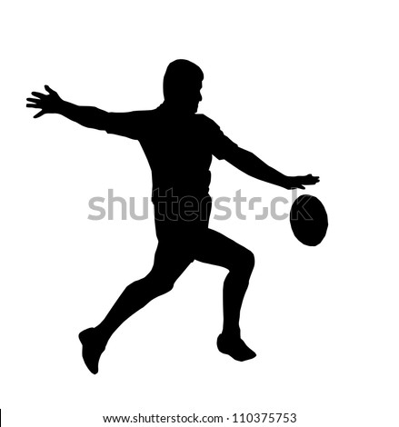 Sport Silhouette - Rugby Football Player Maring Running Kicking For Touch