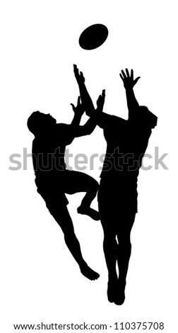 Sport Silhouette - Rugby Football Players Jumping to Catch High Ball - stock vector