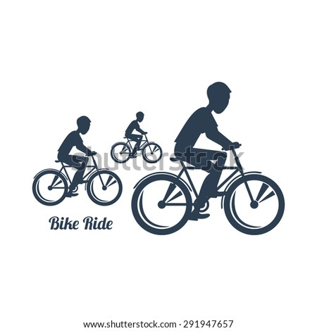 Sport silhouettes icon in black color on white background with text Bike Ride. Teenagers riding bicycles. For web construction, mobile applications, banners, brochures, books, layouts etc.