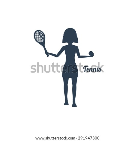 Sport silhouettes icon in black color on white background with text Tennis. Woman with racket and tennis ball. For web construction, mobile applications, banners, brochures, books, layouts etc. - stock vector