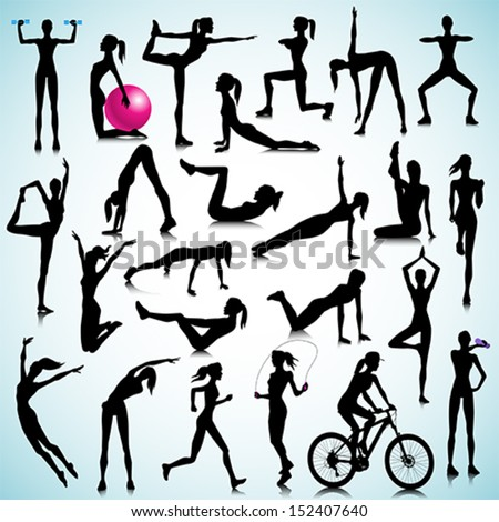 Sport silhouettes of women  - stock vector