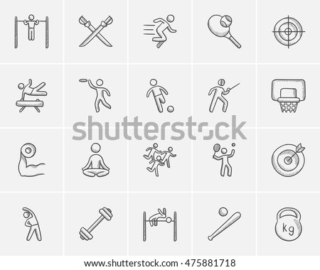 Sport sketch icon set for web, mobile and infographics. Hand drawn sport icon set. Sport vector icon set. Sport icon set isolated on white background.