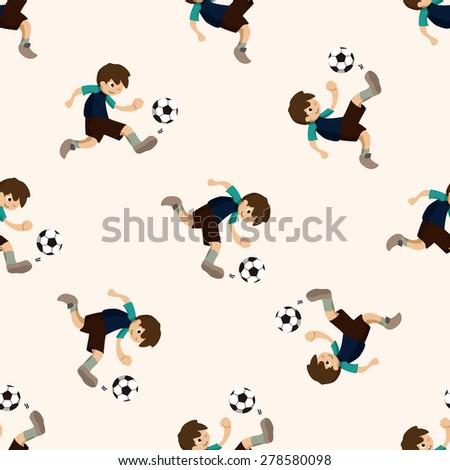 Sport soccer player, cartoon seamless pattern background - stock vector