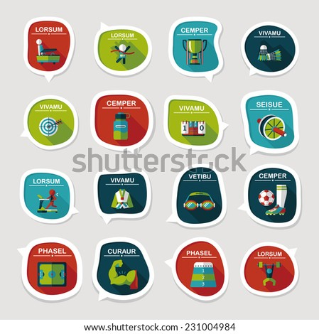 Sport speech bubble flat banner design background set, eps10