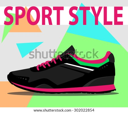 Sport style shoes. Vector illustration - stock vector