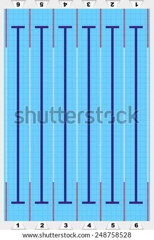 Sport swimming pool with track for athletes. Vector Illustration. - stock vector