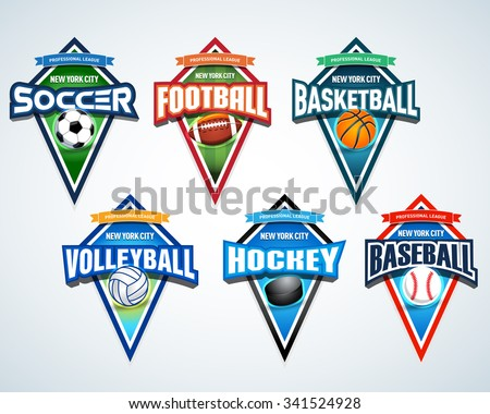 Sport team logo emblems, badge, pennants, t-shirt apparel design templates set. Soccer, American football, Basketball, Volleyball, Hockey, Baseball. Vector abstract isolated illustration - stock vector