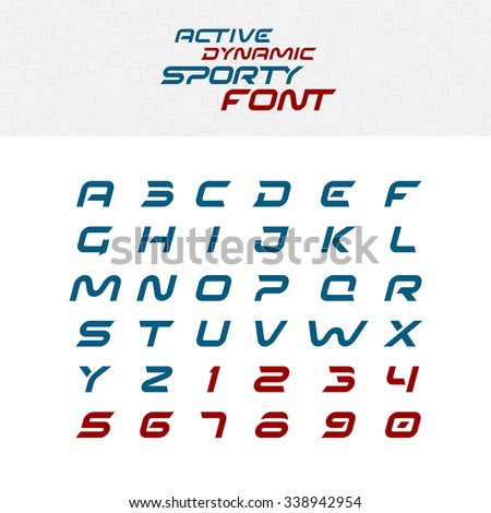 Sport techno font alphabet letters. Skew italic dynamic typeface. Capital letters and numbers. - stock vector