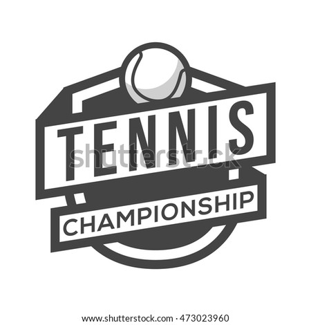 Sport Tennis Logo. Black and White. Vintage Style.