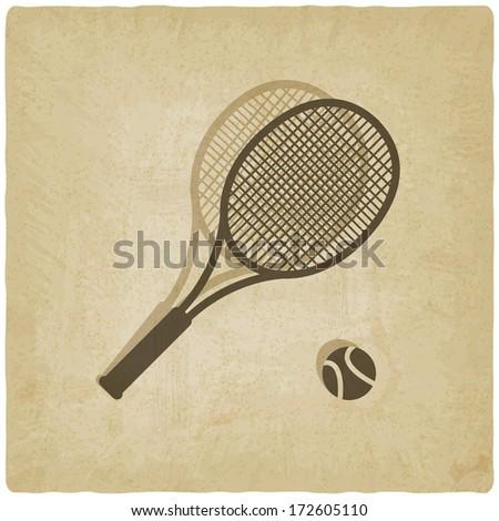 sport tennis old background - vector illustration - stock vector