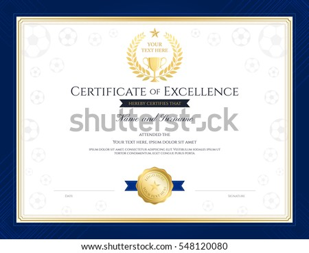 sport theme certification excellence template football stock vector