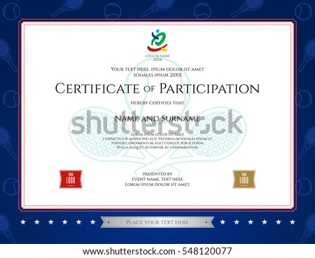 Sport Theme Certification Of Participation Template For Sport Or Tennis  Event
