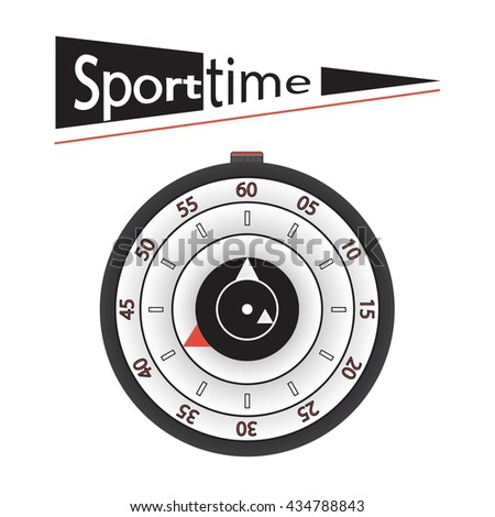 Sport time illustration. Concept of Sport watch or wristwatch or stopwatch. Vector illustration.