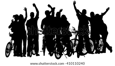 Sport tourist company friends on bicycles . Silhouette people, mountainbike, backpacks, helmets. Friendship, leisure, summer,  group of smiling friends on city street and waving hands. - stock vector