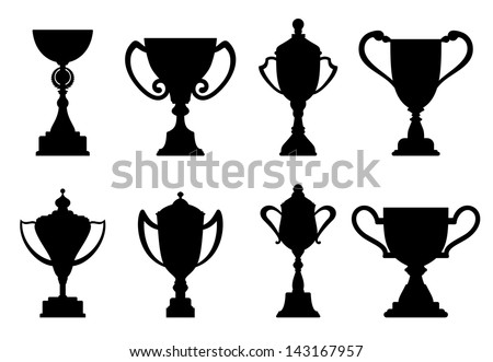 Sport trophies and awards isolated on white background or idea of logo. Jpeg version also available in gallery