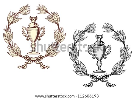Sport trophy with laurel wreath in retro style, such a logo. Jpeg version also available in gallery