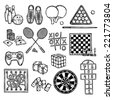 Sport video and gambling games sketch decorative icons set isolated vector illustration - stock vector