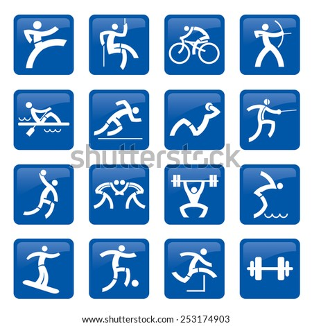 Sport web buttons. Set of blue web icons, buttons with sport and fitness activities. Vector illustration.