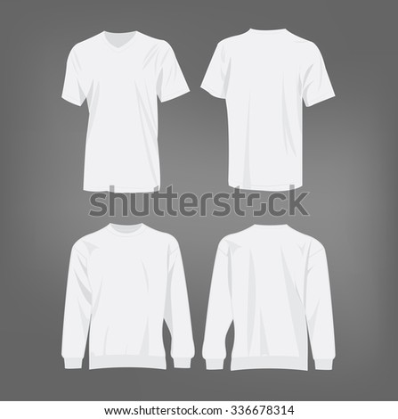 Sport white t-shirt and sweater isolated set vector - stock vector