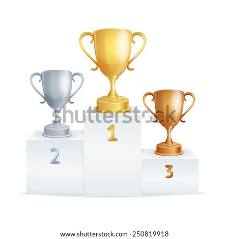 Sport winners pedestal with cups on white  - stock vector