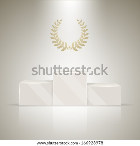 Sport winners podium and laurel wreath for the winner. - stock vector