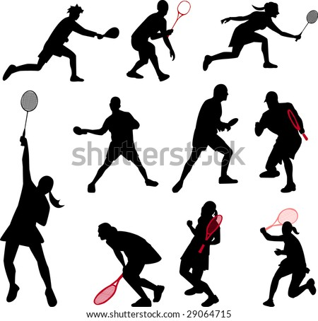 sport with rackets collection - stock vector