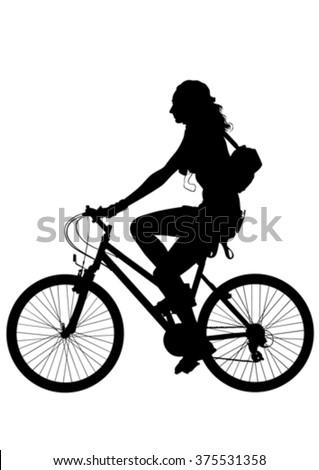Sport woman whit bike on white background - stock vector