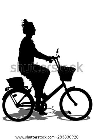 Sport women whit bike on white background - stock vector