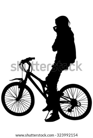 Sport women with bike on white background