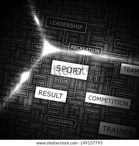 SPORT. Word cloud concept illustration. Graphic tag collection. Wordcloud collage with related tags and terms.