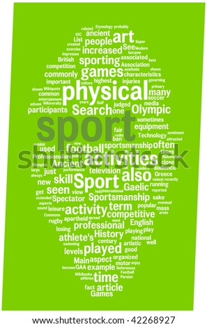 Sport word cloud illustration. Graphic tag collection.