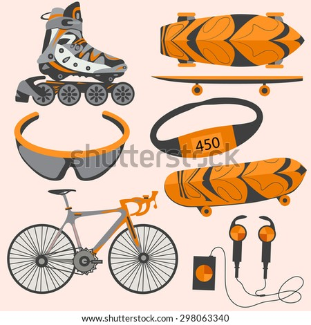 Sporting appliances bicycles, roller skates, a skateboard for design Web and mobile applications. The modern concept of icons. Vector illustrations