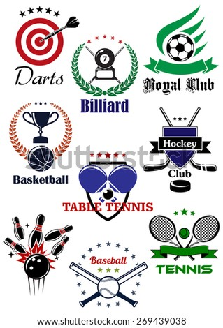 Sporting badges or logo with equipments and heraldic design elements for football or soccer, ice hockey, darts, basketball, billiards, table tennis, bowling, baseball and tennis - stock vector