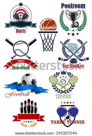 Sporting club or competition emblems for football or soccer, darts, baseball, bowling, tennis, ice hockey, basketball, billiards or pool and table tennis sports with heraldic design elements - stock vector