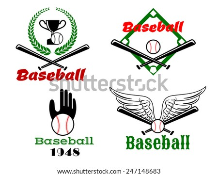 Sporting emblems depicting baseball balls and crossed bats against wings, glove, field and trophy cup in framed laurel wreath with caption Baseball