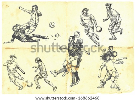 Sporting events around the World: FOOTBALL (SOCCER) no.2. Collection of hand drawn illustrations. Description: Each drawing comprise of one or two layers of outlines, colored background is isolated. - stock vector