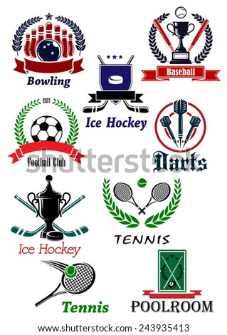 Sporting icons, emblems and symbols with darts bowling ice hockey baseball football soccer, tennis, and poolroom elements