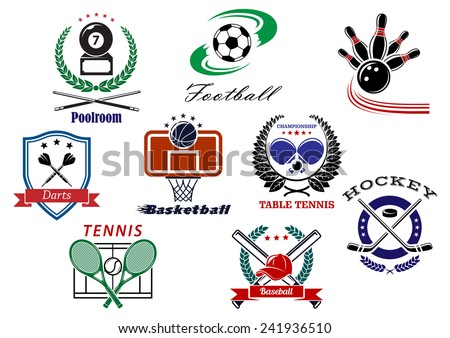 Sporting logo and emblems for football or soccer, tennis, darts, ice hockey, basketball, billiard, bowling, baseball with heraldic shield, laurel wreaths, stars and ribbon banners - stock vector