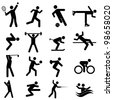 Sports and athletics icon set in black - stock photo