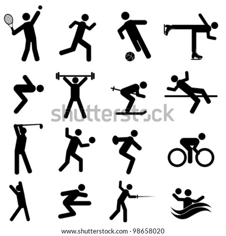 Sports and athletics icon set in black - stock vector