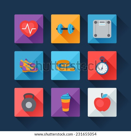 Sports and fitness icons set in flat style. - stock vector