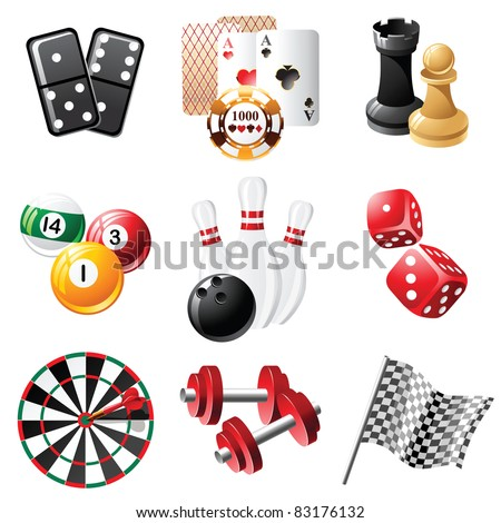 sports and leisure icons set - stock vector