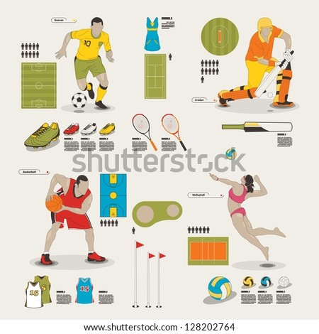 sports and recreation info graphic elements - stock vector