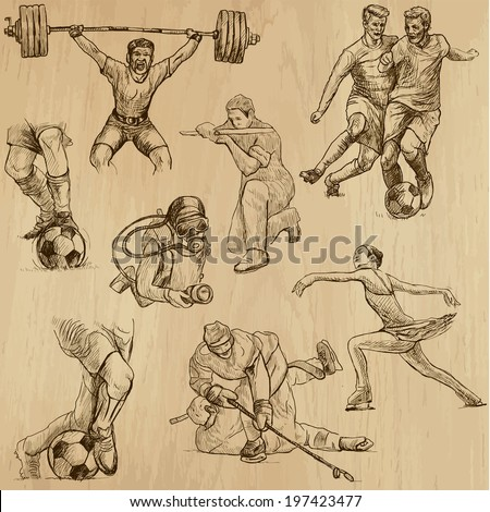Sports around the World (vector pack no.10). Collection of an hand drawn illustrations (originals). Each drawing comprises of two layers of outlines, the colored background is isolated.