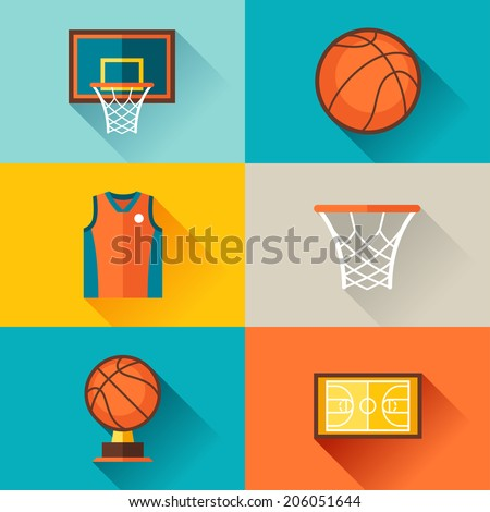 Sports background with basketball icons in flat style. - stock vector