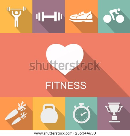 Sports background with fitness icons  in flat  style - stock vector