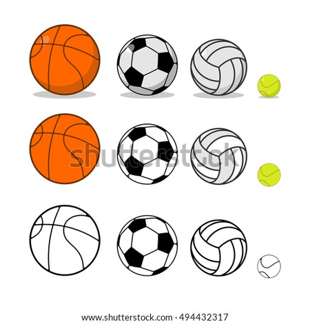 Sports ball set. Basketball and football. Tennis and volleyball. equipment for games
