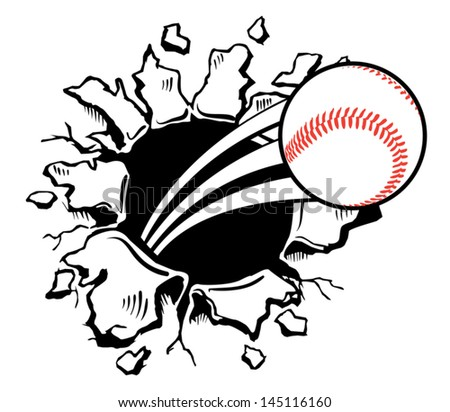 Sports Ball violently busting through the wall - stock vector